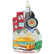 kurt adler glass san francisco cable car ornament