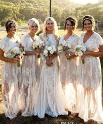 boho wedding dress plus size new summer bohemian white sheer lace bridesmaid dresses v neck