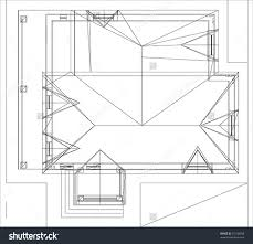 drawing of roof house architectural 3d illustration 75138958