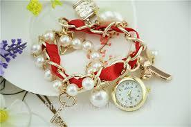 ladies pearl bracelet watches images Full rhinestone cover bead anchor pendant big pearl bracelet band jpg