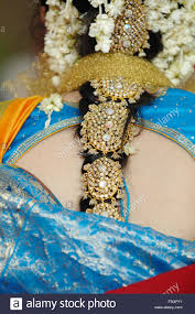 in indian hindu wedding with decorative ornaments on