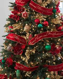 Decorated Christmas Tree Pictures With Ribbon by Red Christmas Tree Ribbon Balsam Hill