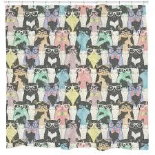 Nerdy Shower Curtain Nerdy Cats Shower Curtain U2013 Sharp Shirter