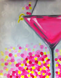 martini glass acrylic painting pink flirtini canvas painting painting classes paint and