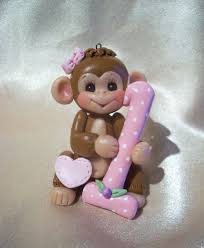 monkey birthday cake topper first christmas ornament by clayqts
