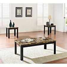 Faux Marble  Piece Coffee And End Table Set Multiple Colors - Living room table set