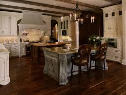 french country brick and stone kitchen traditional with blue