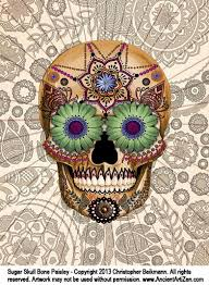 sugar skull paisley pencil and in color sugar skull