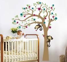 Baby Nursery Wall Decal Baby Nursery Decor Standing Baby Near Beautiful Tree With