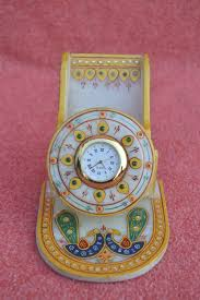 home decor handmade crafts buy marble mobile stand with clock online with handmade crafts