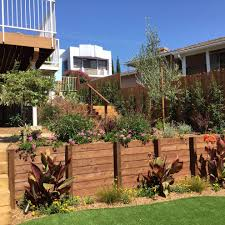 wood retaining wall landscape mediterranean with freestanding