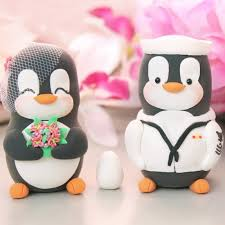 personalised us navy military penguin wedding cake toppers