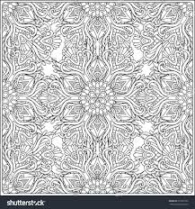 paisley mandala pattern frame square coloring stock vector
