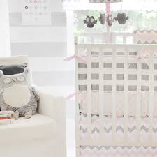 chevron baby striped crib bumper in pink and gray by my baby sam