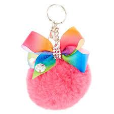 jojo siwa pink pom pom with rainbow bow keychain s