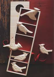 wooden cardinal birds tree ornaments set of 5 nova68