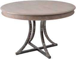 round barn wood dining table with forged metal base by woodland