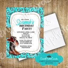 aqua boots western invitations western quinceanera party theme