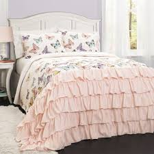 ruffle girls bedding butterfly kisses girls ruffle quilt bedding set u2013 gogetglam
