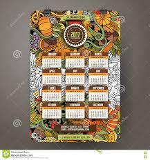doodles thanksgiving 2017 year calendar stock vector