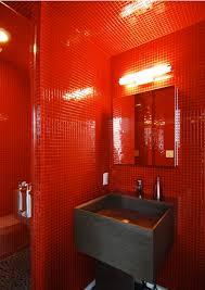 Red Powder Room Gray Wooden Motif Washbasin With Mirror Orange Tube Wall Light