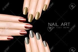 holiday nail art trendy glitter nail polish in silver gold