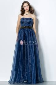 navy blue organza strapless long unique prom dress lunss couture