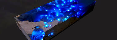 mesmerizing resin table illuminates a u201cstarry sea u201d with led lights