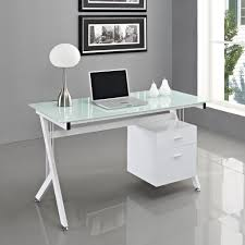 Metal Computer Desk With Hutch by Glass Top Silver Tone Metal Base Modern Home Office Desk Intended