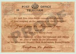 Telegram Wedding Invitation Vintage Telegram Wedding Invitation Click N Print