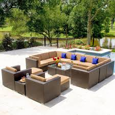 Pvc Wicker Patio Furniture by Avery Island 16 Piece Resin Wicker Patio Sectional Seating Set