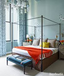 Blue Bedroom Ideas by Bedroom Blue And White Bedside Lamps Brown Wood Headboard White