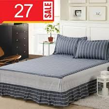 gray stripes bed skirt queen king size bedding 100 cotton fitted