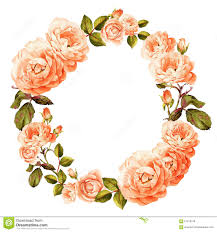 Peach Roses Pink Peach Roses Watercolor Wreath Stock Illustration Image