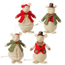 mice in and green felt ornament set of 4 raz