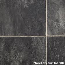 Grey Slate Tile Effect Laminate Flooring 3 8mm Thick Vinyl Flooring Realistic Stone Effect Lino Kitchen