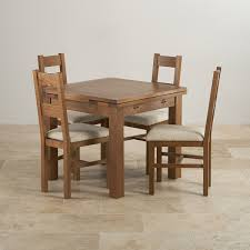 Rustic Oak Dining Set Ft Table With  Beige Chairs - Rustic oak kitchen table