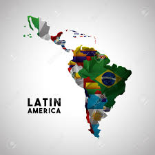 Map Of Countries Map Of Latin America With The Flags Of Countries Colorful Design