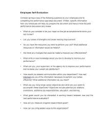 employee self assessments example of employee self appraisal form