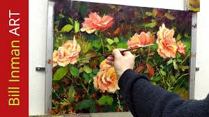how to paint roses fast motion oil painting by bill inman