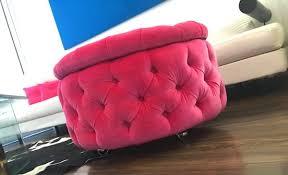 Pink Storage Ottoman Ottoman With Storage Velvet Tufted Ottoman On Chrome