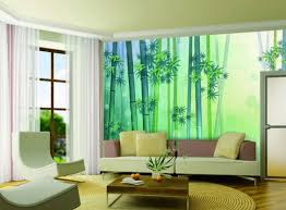 gorgeous living room with bamboo wall background print plus paired