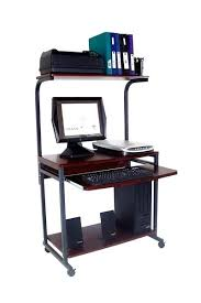 Small Portable Computer Desk Tower Computer Desk Compact Portable Computer Desk W Hutch Shelf