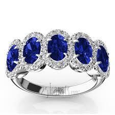 Diamond Sapphire Wedding Ring by Micro Pave Set Diamond And Oval Sapphire Anniversary Band 1 2 Ct