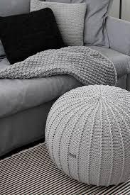 Knitted Ottoman Large Light Grey Floorpouf Knitted Pouf Knit Pouf