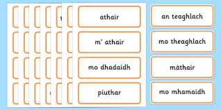 scottish gaelic family word cards scottish gaelic family