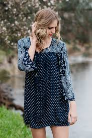 navy long sleeve bohemian dress spring boho dresses blue dresses