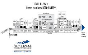 Westminster Colorado Map by Level B West Building Map Westminster Campus Frcc