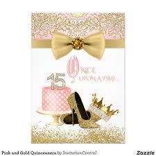 Princess Birthday Invitation Cards Pink And Gold Quinceanera Princess Birthday Invitations