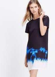 vince tie dye short sleeve satin dress in blue lyst